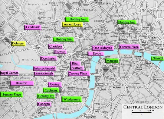 London Hotels Map