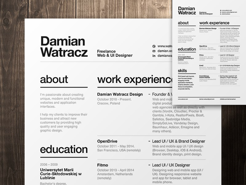 Resume Template Design Free Download